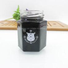 Alimentos almacenamiento hexágono vidrio Mason Jar con tapa de lata