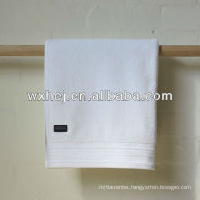 100% cotton velour stripe hotel white bath towels with embroidery