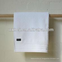 100% algodão veludo listra hotel toalhas de banho branco com bordado