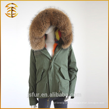 Factory Wholesale Custom Real Coats Hooded Fox Fur Parka
