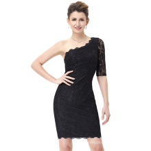 Kate Kasin Asymmetry One Shoulder Half Sleeve Short Black Lace Cocktail Party Dress KK000176-1