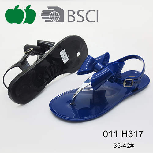 Sexy Pvc Simple Design Ladies Fashion Flat Sandals