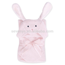 Cute Bunny Hugs Style Baby Toalla de baño con capucha de algodón, Blanco / Azul / Rosa / Verde / Amarillo Toga de abrigo, Cute Newborn Bath