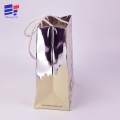 Silver paper gift  bag with rope