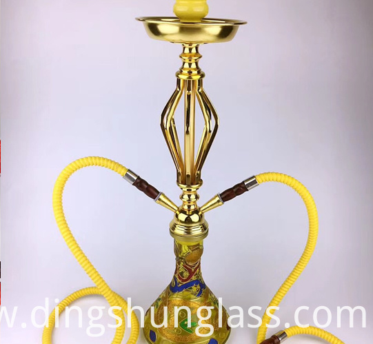 metal gold double tube glass hookah