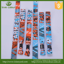 Popular polyester embroidered custom cloth wristband