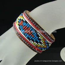 Wholesale New Bracelet Brazil Style Buttons Leather Bracelet BCR-017-1