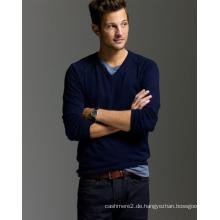 Herren V-Ausschnitt gestrickten Pullover Pullover 100% Kaschmir Strickpullover