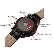 Männer Stil Smartwatch T2 runde Edelstahl Bluetooth Uhr Android Smart Watch mit mit Herzfrequenz