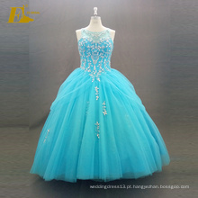 ED Bridal Elegant Ball Gown Amostra Real sem mangas Lace-Up Back Beaded Blue Vestido Quinceanera
