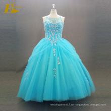 ЭД невесты элегантный бальное платье реальный образец рукавов кружева-up платье синий пышное платье