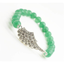 Green Aventurine Gemstone Bracelet with Diamante alloy Wing Piece