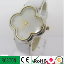 Genuine Leather Strap Flower Shape Lady Watch
