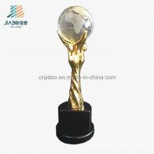 Troféu feito sob encomenda do metal do suporte do ouro do cristal da liga da fonte para o futebol