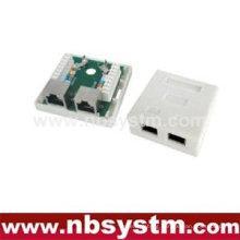 2 ports Surface Box STP Cat5e 2xRJ45 PCB jack