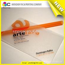 Varnishing transparent business card making