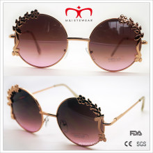 Special Design Sunglasses with Flower Decoration Round Frame Sunglasses (30388)