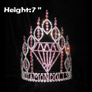 Coroas de concurso de diamante rosa strass 7in altura