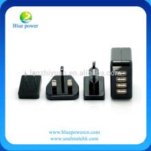 4A 4 puertos portátiles USB cargador de pared extraíble internacional UK + UE + EE.UU. enchufe adaptador de alimentación de viaje para el iPhone 6S / 6 Plus
