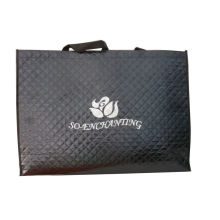 Black 75g Quilted Square Veins Bag, Non Woven Carry Bag With Printing Logo For Packaging