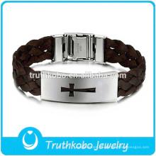 La joyería más nueva LBA006 de la cuerda marrón de Baided para los hombres con las etiquetas religiosas de Desgin de las hebillas del cinturón vende al por mayor el brazalete promocional