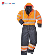 Outdoor safety high visibility reflective rain coat with pants suits working uniform with reflective tape