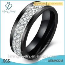 Bague en diamant, cadeau de Noël, mode bijoux en gros bague en céramique noire pour hommes, femmes