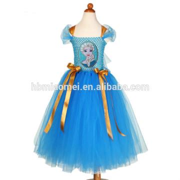 2017 neueste design ein stück tanz tragen mädchen kleid blaue farbe handgemachte mädchen tutu kleid für mädchen leistung