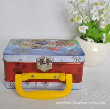 Metal Boxes with Hinged Lids, Square Metal Tin Box with Handle, Emboss Handle Metal Box
