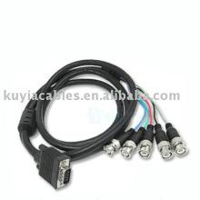 6Ft D-Sub HD15-Pin VGA auf BNC Adapterkabel 5BNC Kabel RGBHV Breakout Kabel
