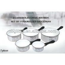 Satz von 5 Emaille-Kochtopf mit Bakelit-Griff
