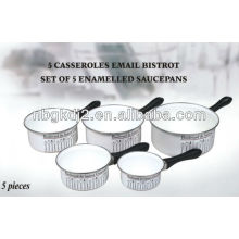 set of 5 enamel saucepan with bakelite handle