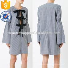 Последние дизайн с длинным рукавом белый и черный Летнее мини-платье с бантом оптом производство модной женской одежды (TA0010D)