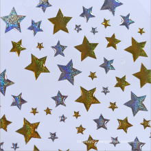 Custom Decorative Gold Sliver Stars Plastic Stickers