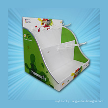 Paper Counter Display Stand, Cardboard Display Stand with Hooks