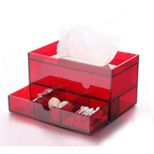 Exquisite rote Acryl-Tissue-Box mit Kosmetik