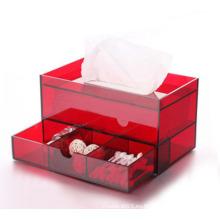 Exquisita caja de pañuelos de papel acrílico rojo con cosméticos