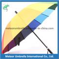Automatic Open Metal Frame tecido Ployster 16ribs guarda-chuva Parasol arco-íris