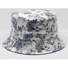 2015 benutzerdefinierte billige Blumen Revers Eimer Hüte und Mütze mit gewebten Etiketten-Patch