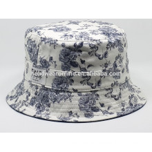 2015 custom cheap floral revers bucket hats and cap with woven label patch