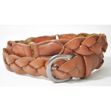 Leather Belt, Genuine Leather Braided Cow Leather Belt