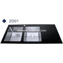 Populäre Stil schwarz Glasplatte Edelstahl Spüle mit Abtropffläche