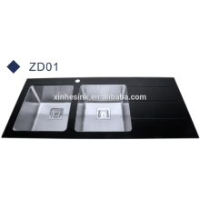 Popular style black glass top stainless steel kitchen sink with drainboard