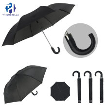 2 Fold Polyester Windproof Advertising Promotion Umbrella with J Handle