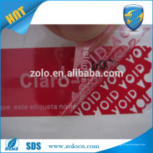 Résidu tamper anti-contrefaçon adhésif papier vinyle / garantie d'impression VOID label