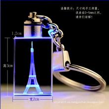 Llavero de vidrio cristalino al por mayor de luz LED para regalo (KS61100)