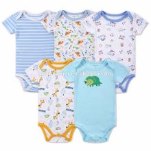 La ropa recién nacida del bebé peinó el mameluco orgánico del bebé del algodón para el verano