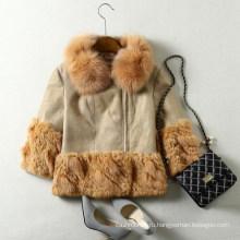 Реальный овец кожи Лисий мех пальто для женщин короткий Стиль