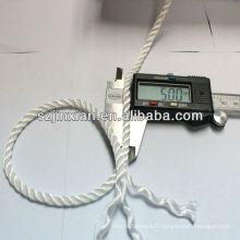 Corde torsadée en nylon blanc de 3 brins de 5 brins