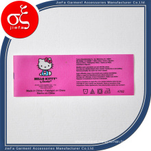 Custom Pink Cute Polyster Wash Care Label for Clothing/Gift Label